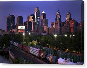 Philly Sunset  Canvas Print by Kenny  Noddin