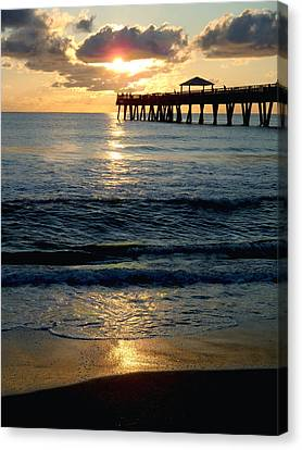 Sunset Pier Canvas Print by Carey Chen