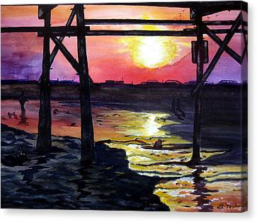 Canvas Print featuring the painting Sunset Pier by Lil Taylor