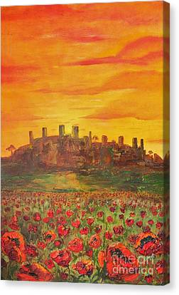 Sunset Poppies Canvas Print by Jodi Monahan