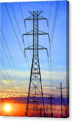 Sunset Power Lines Canvas Print by Olivier Le Queinec