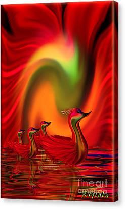 Ducklings Canvas Print - Sunset Promenade - Fantasy Art By Giada Rossi by Giada Rossi