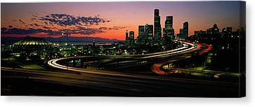 Sunset Puget Sound & Seattle Skyline Wa Canvas Print by Panoramic Images