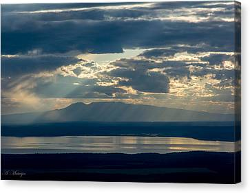 Sunset Rays Over Mount Susitna Canvas Print by Andrew Matwijec
