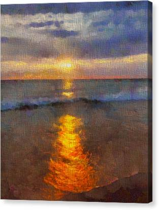 Sunset Reflection At Sleeping Bear Dunes Canvas Print by Dan Sproul
