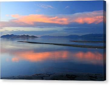 Sunset Reflection At The Great Salt Lake Canvas Print by Johnny Adolphson