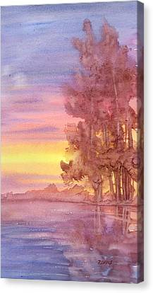 Canvas Print featuring the painting Sunset Reflection by Rebecca Davis