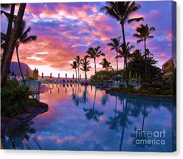 Sunset Reflection St Regis Pool Canvas Print by Michele Penner