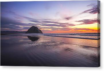 Sunset Reflections At Morro Bay Beach Rock Fine Art Photography Print Canvas Print by Jerry Cowart