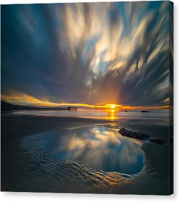 Sunset Reflections In San Diego Square Version Canvas Print by Larry Marshall