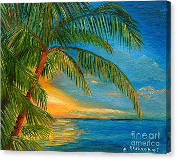 Canvas Print featuring the painting Sunset Reflections - Key West Sunset And Palm Trees by Shelia Kempf