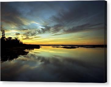 Sunset Reflections. Lake Gentry. Canvas Print by Chris  Kusik