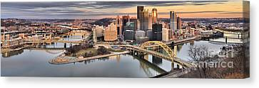 Sunset Reflections Of Pittsburgh Canvas Print by Adam Jewell