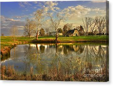 Sunset Reflections Turnwold Plantation Art Canvas Print by Reid Callaway