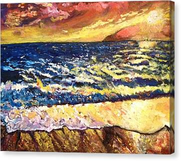 Canvas Print featuring the painting Sunset Rest - Drama At Sea by Belinda Low