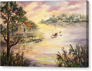 Canvas Print featuring the painting Sunset Retreat by Roxanne Tobaison