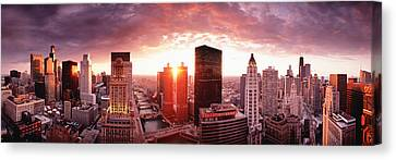 Sunset River View Chicago Il Canvas Print by Panoramic Images