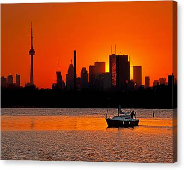 Sunset Sail Ashbridges Bay Toronto Canada Canvas Print by Brian Carson