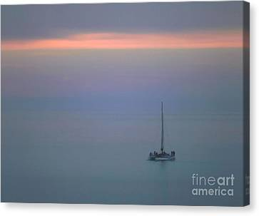 Canvas Print featuring the photograph Sunset Sail by Clare VanderVeen
