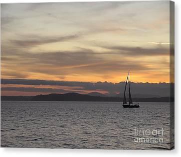 Canvas Print featuring the photograph Sunset Sail In Seattle by Laura  Wong-Rose