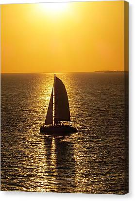 Canvas Print featuring the photograph Sunset Sail by Jennifer Wheatley Wolf
