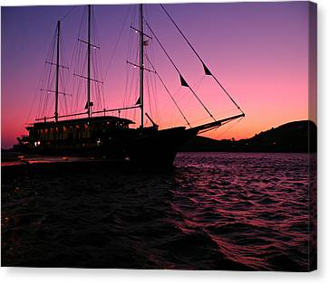 Canvas Print featuring the photograph Sunset Sail by Micki Findlay