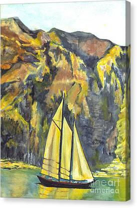 Sunset Sail On Lake Garda Italy Canvas Print by Carol Wisniewski