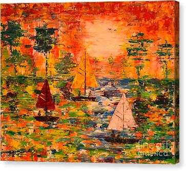 Canvas Print featuring the painting Sunset Sailing by Denise Tomasura