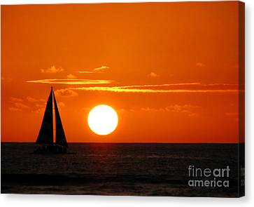 Sunset Sailing Canvas Print by Kristine Merc
