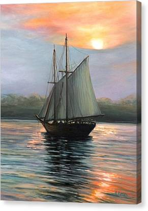 Sunset Sails Canvas Print by Eileen Patten Oliver