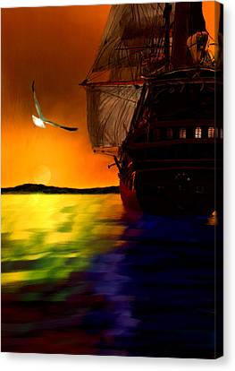 Sunset Sails Canvas Print by Lourry Legarde