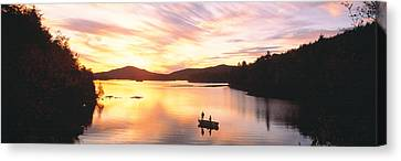 Two Fish Canvas Print - Sunset Saranac Lake Franklin Co by Panoramic Images