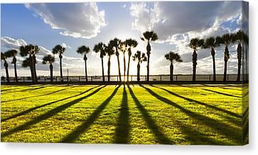 Jeckll Island Canvas Print - Sunset Sentinels by Debra and Dave Vanderlaan
