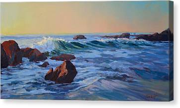 Sunset Session Wood's Cove Canvas Print by Fay Wyles
