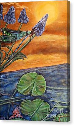 Sunset Setting Over A Dragonfly On A Water Lily Pond Canvas Print by Kimberlee Baxter