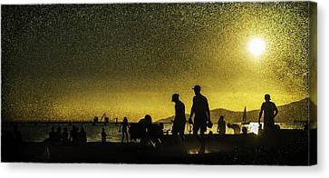 Canvas Print featuring the photograph Sunset Silhouette Of People At The Beach by Peter v Quenter