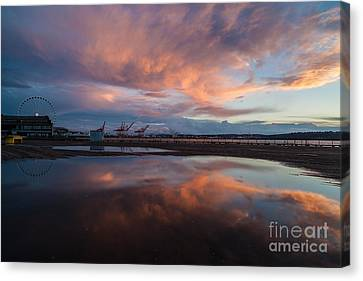 Sunset Skies And The Wheel Canvas Print