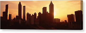 Reflection Of Sun In Clouds Canvas Print - Sunset Skyline, Atlanta, Georgia, Usa by Panoramic Images