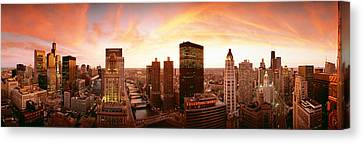 Sunset Skyline Chicago Il Usa Canvas Print by Panoramic Images