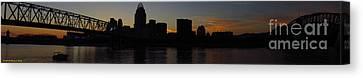 Mary King Canvas Print - Sunset Skyline Cincinnati by Mary  King