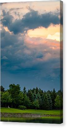 Sunset Storm Clouds And Trees Canvas Print
