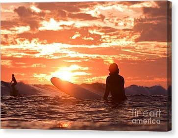 Canvas Print featuring the photograph Sunset Surf Session by Paul Topp