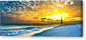 Sunset Surfer Canvas Print by Eszra Tanner