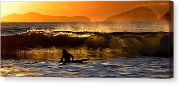 Sunset Surfer Canvas Print by Florian Walsh
