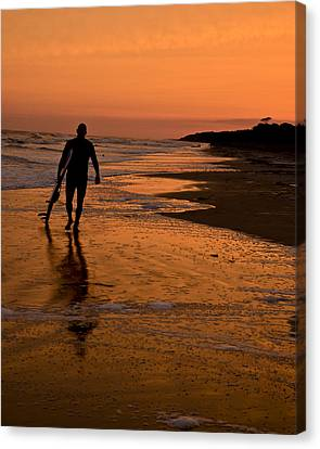 Sunset Surfer Hilton Head Sc Canvas Print by Sally Ross