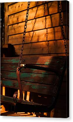 Canvas Print featuring the photograph Sunset Swing by Haren Images- Kriss Haren