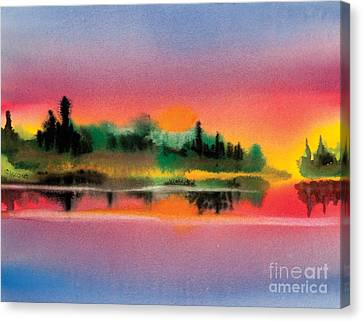 Canvas Print featuring the painting Sunset by Teresa Ascone