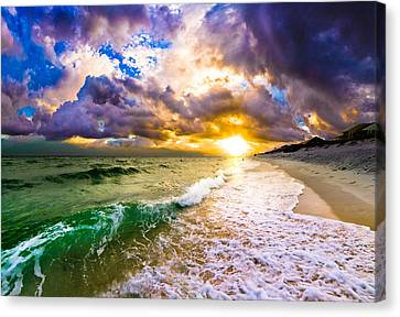 Canvas Print featuring the photograph Sunset Through Breaking Wave-landscape-sea And Dark Cloud by Eszra