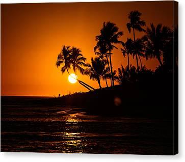 Sunset Through The Palm Trees Canvas Print