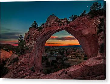Sunset Through Window Rock Canvas Print by Erica Hanks